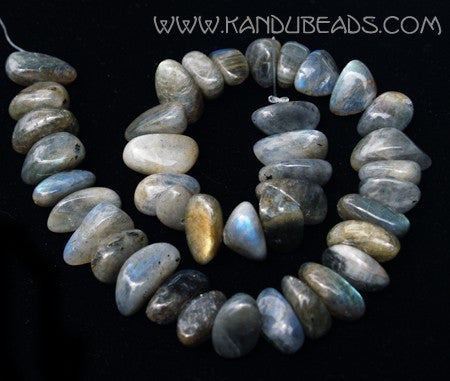 Gray Labradorite smooth nugget Beads 20mm 16 inch strand