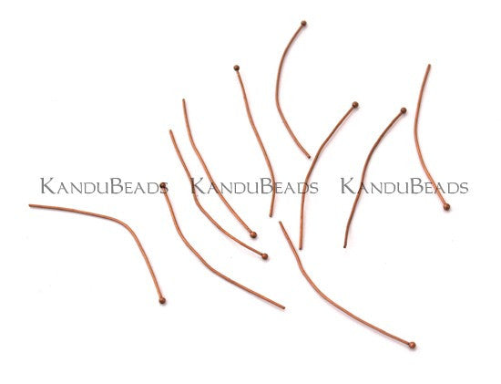 Copper Plated Brass Head Pins Ball End Pins 0.75mm 2.25 inch  10 grams (aprox 50)
