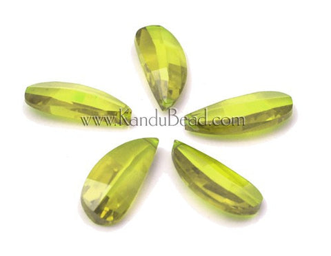 CLOSEOUT 50% Off - Apple Yellow Cubic Zirconia CZ briolette petal bead 10x22 (ONE Bead)