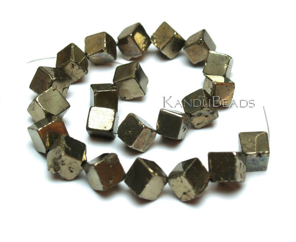 "Golden Pyrite dice cube beads 11mm (aprox 32 beads) 15"" strand nice polish"