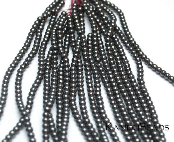 "Hematite Round beads silvery black 4mm 15"" (perfect spacer beads) (APROX 105 BEADS)"