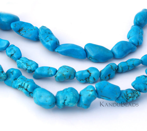 "Bright Blue Turquoise Color Dyed Magnasite 13-20mm Smooth NUGGET beads 15"" Aprox 25-35 beads"
