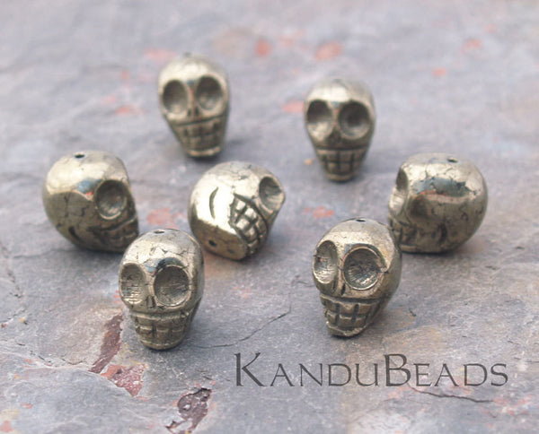 Pyrite Hand Carved Skull Beads 11x12mm