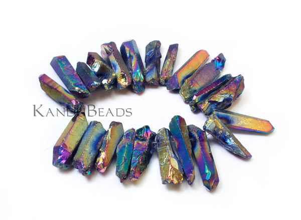 "Rainbow Mystic DOUBLE DRILLED Titanium AB Quartz  crystal point beads 2 holes per bead 15-40mm 6"" strand"