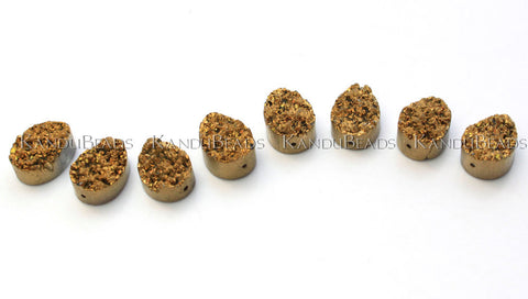 "Quartz Gold Color Titanium Tear Drop (briolet) Druzy geode bead, 13x18mm 7"" STRAND (11 BEADS)"