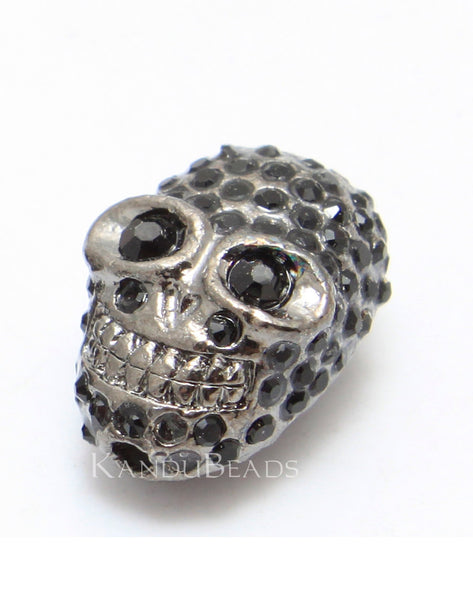Black and Gunmetal Rhinestone Skull Bead, Pave, Motorcycle Chic, Tattoo Style