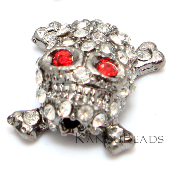 Skull and Cross Bone Bead - Bright Silver Color with Clear Rhinestones and Red Eyes, Pave, Motorcycle Chic, Tattoo Style, Toxic