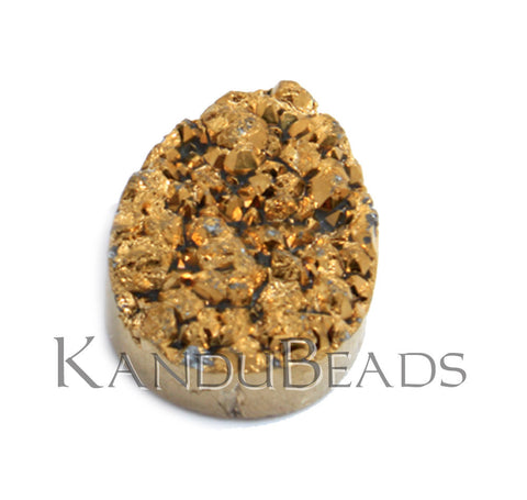 Gold Color Quartz Titanium Tear Drop Druzy geode bead, 30x20mm (ONE BEAD)