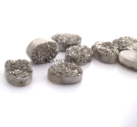 Oval Druzy geode Quartz bead, Silver Color Titanium Coated, 18x25mm BIG (ONE BEAD)