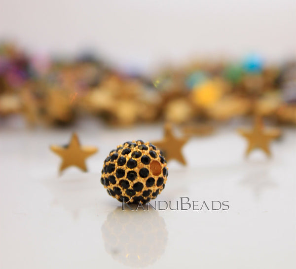 Black and Golden Color Rhinestone 12mm Pave Bead