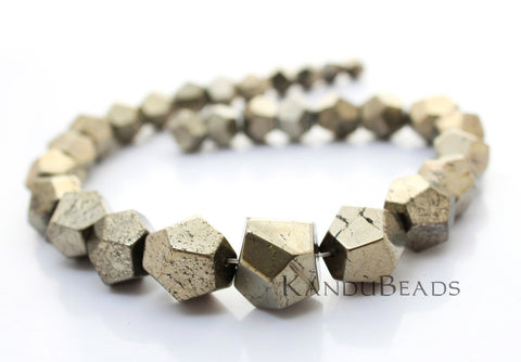 Pyrite Graduated Semi Faceted Nugget Beads 8X8mm-16X16mm  15""