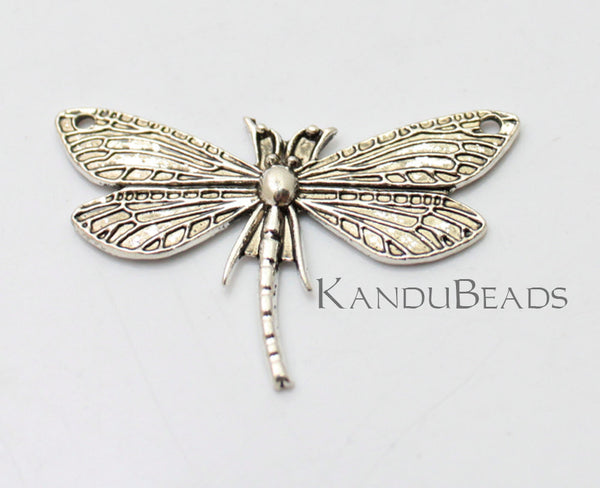 2 LARGE DRAGONFLY, Dragon Fly, Darning Needle, Connector Pendant, Silver Color Charms, Metal Alloy 50x30 mm insect