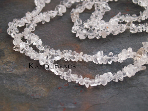 "Natural Crystal Quartz, Small Chip Beads  5-10mm  LONG 34"" strand"