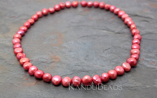 Coral Pink Potato Fresh Water Pearl 8-10mm 14""