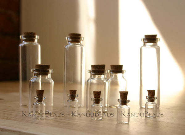 Assortment of 6 Small Glass Jars with Corks, Glass Vile, Small Bottle 10x28mm 10x13, 5x10