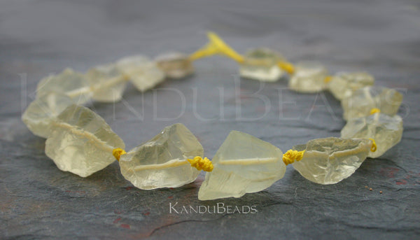 Lemon Quartz ROUGH Light Yellow Crystalline Nuggets 30-40mm