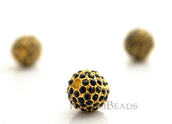 Gaga Gold and Black Rhinestone Pave Bead Bright Gold Color Zinc 8mm ONE Bead