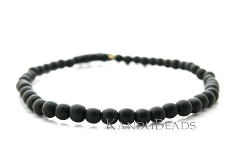 "Nangka Wood Round 8mm, Dyed Black Color 15"" Strand (aprox 50 beads)"