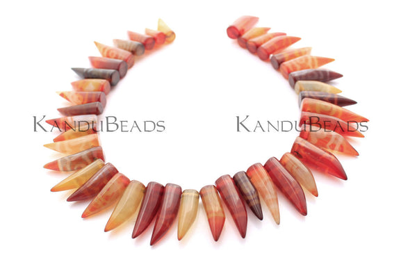 "Carnelian Agate Tooth Horn Fang Point Beads 28mm Tibet style red orange 15"" Strand"