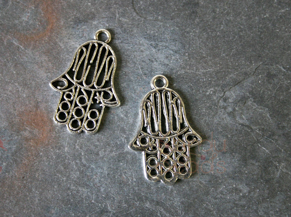Hamsa Pendants, Hand of God, Kabbalah, Silver Color Filligree 10 Charms, Metal Alloy 17x25 mm