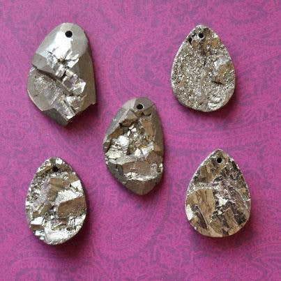 Golden Iron Pyrite Natural Rough Druzy Pendant (one bead) 35-60mm