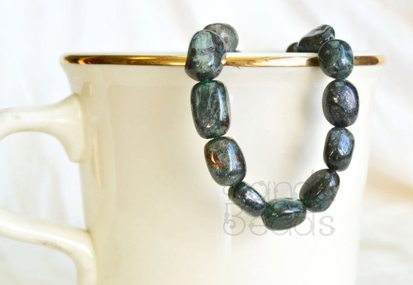 Dark Green Apatite Smooth Oval Nugget Beads 8x12mm 15 inch strand