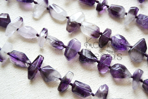 Amethyst Faceted nugget beads Approx 10X15 mm purple
