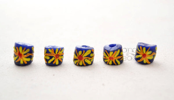 Daisy Flower Recycled Glass African Trade Beads 13mm (Made In Ghana) Rustic
