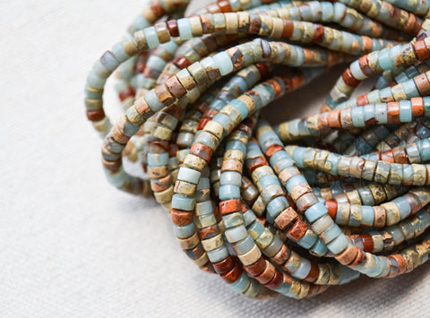 Natural Blue Impression Jasper Small Heishi Tire Beads 2x4mm or 3x6 15 inch strand