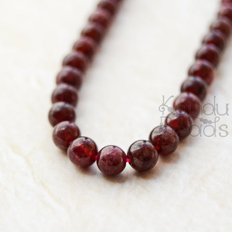 GARNET Smooth Polished Natural Organic Round Beads 4 mm Grade A