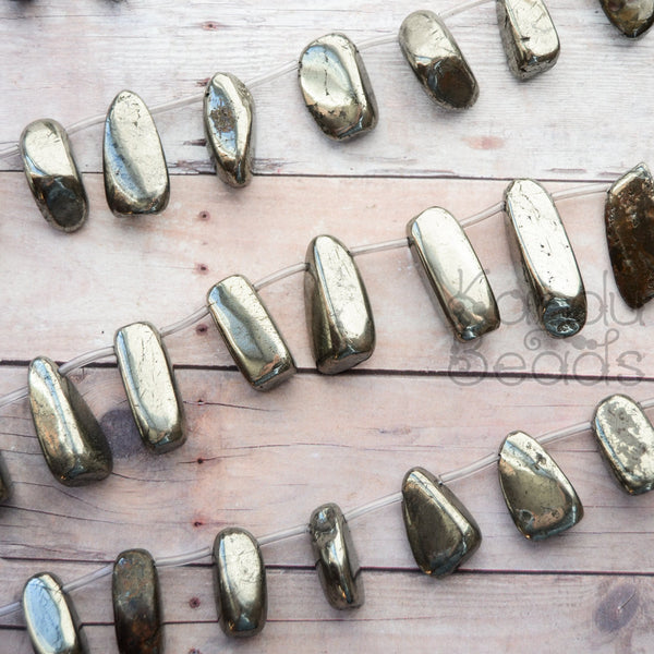 "Top Drilled Golden Iron Pyrite Polished Smooth Irregular Nugget Beads  10x23 mm 15"" Strand  (Fools Gold)"