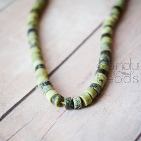 Natural Green Tree Jasper Heishi Tire wheel disc Beads 2x4mm or 3x6 15 inch strand