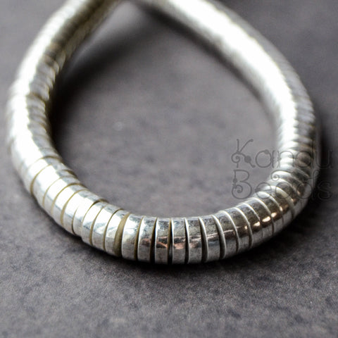 Silver Colored Brass Heishi Beads 6mm x 2mm