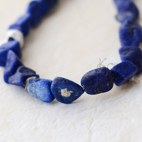 SALE India Lapis Lazuli Rough Nugget beads Bright Blue Medium Size 9-12 mm
