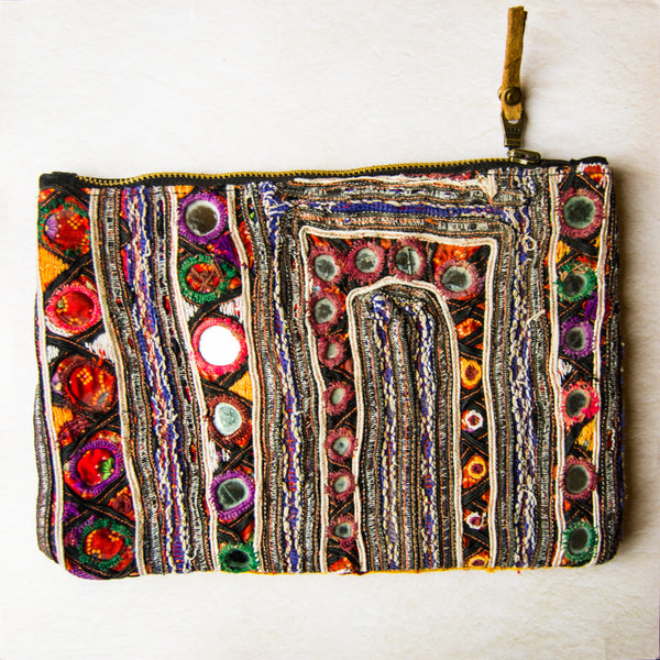 Recycled Banjara Cloth Purse Clutch, Recycled Materials, Handmade Purses, Bag, Banjara Purse, Cloth Clutch purse, Mirrors, yellow, red