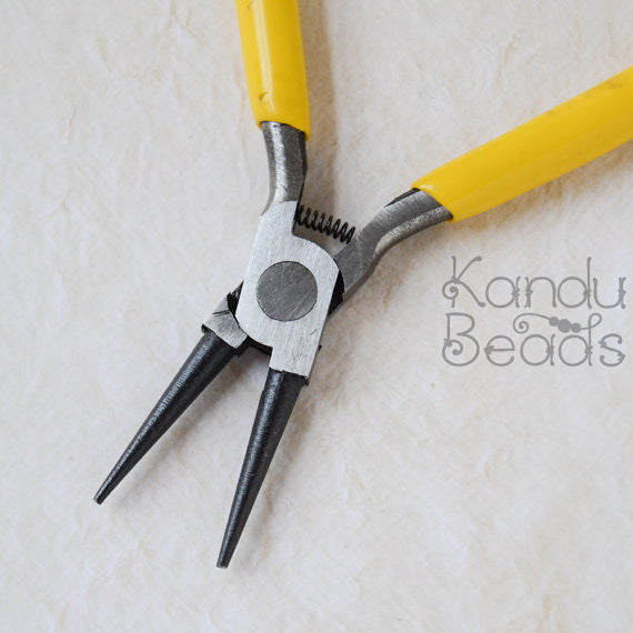 Double Round Nose Pliers with Rubber Handle 5 Inch long 2MM thin at tip of Nose