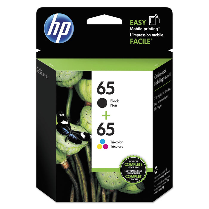 HP 65 Black & Tri-color ink cartridges, 2-Pack (T0A36AN)