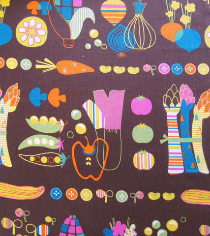 Scandinavian Kitchen - Japanese Fabric - Veggies - Brown - Westex
