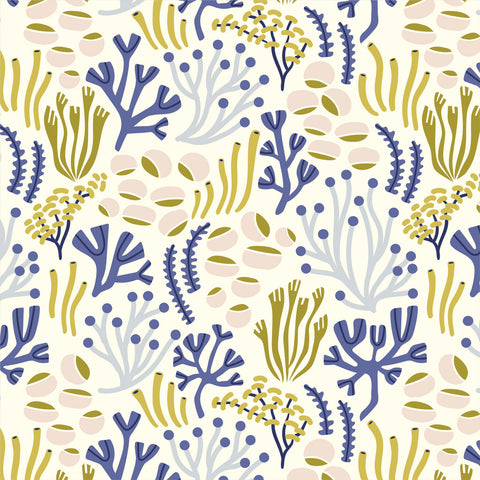 Oceanfloor Warm White - Underwater - Elizabeth Olwen - Cloud9 Organic Fabric