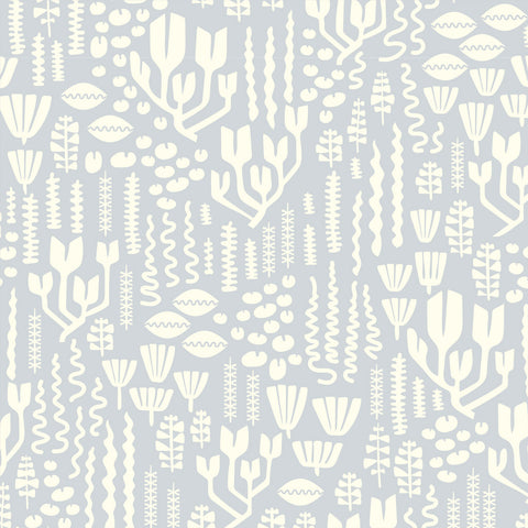 Scandiweeds Dusty Blue - Underwater - Elizabeth Olwen - Cloud9 Organic Fabric