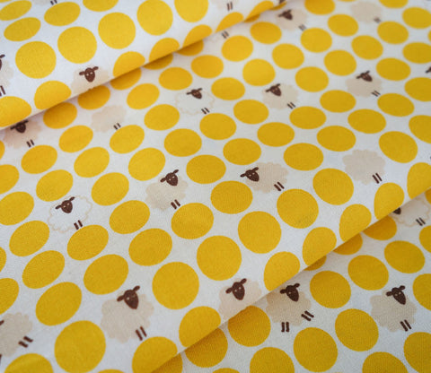 Sheep Dots - Japanese Fabric - Yellow - Cotton Shirting - Westex