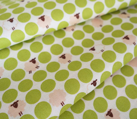 Sheep Dots - Japanese Fabric - Light Green - Cotton Shirting - Westex