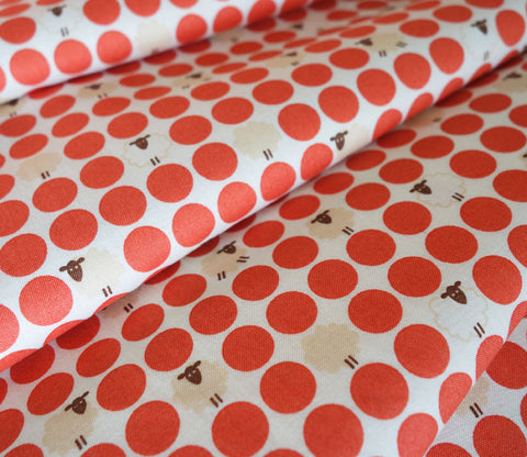 Sheep Dots - Japanese Fabric - Red - Cotton Shirting - Westex