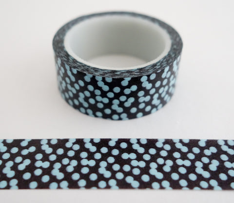 Blue Dots on Brown - Mini Washi Tape