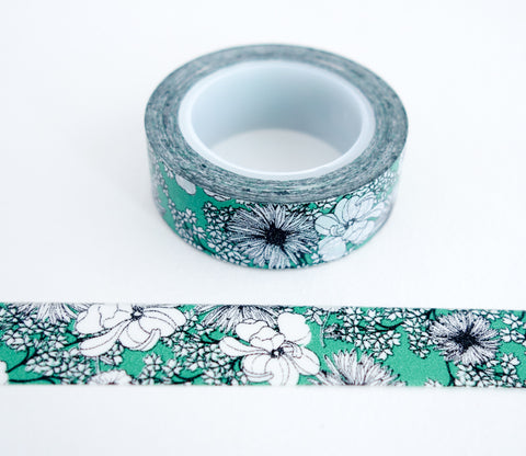 Elegant Green Flower Washi Tape