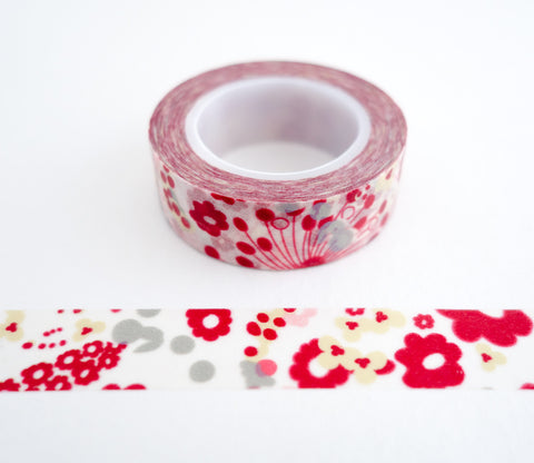 Red Pink Flower Bouquet Washi Tape