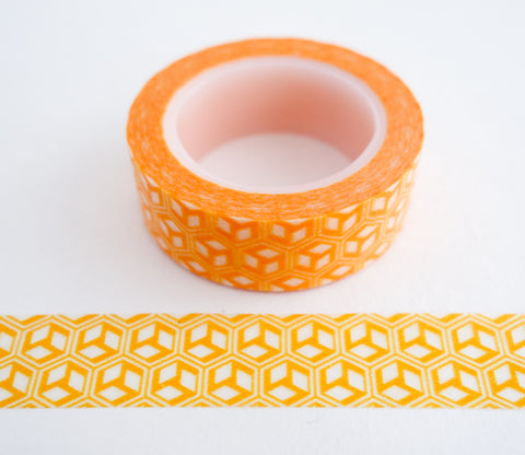 Abstract Orange Geometric Cubes Washi Tape