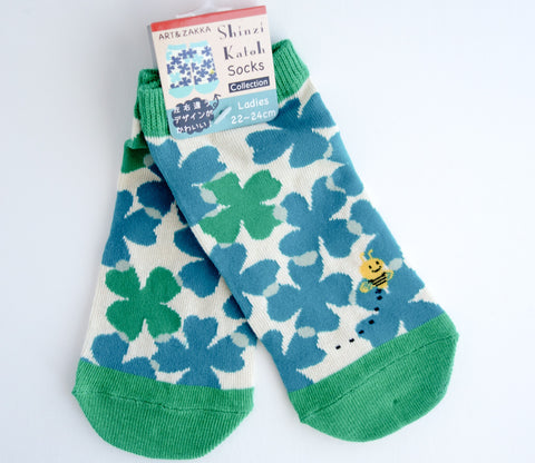 Blue Clover and Bees - Socks - Shinzi Katoh