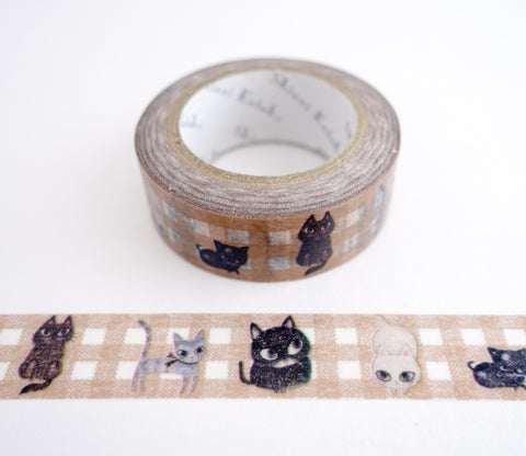 Cat Cat Cat - Gold Shinzi Katoh Washi Tape