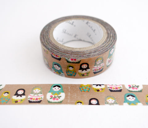 Nesting Matryoshka Dolls - Gold Shinzi Katoh Washi Tape
